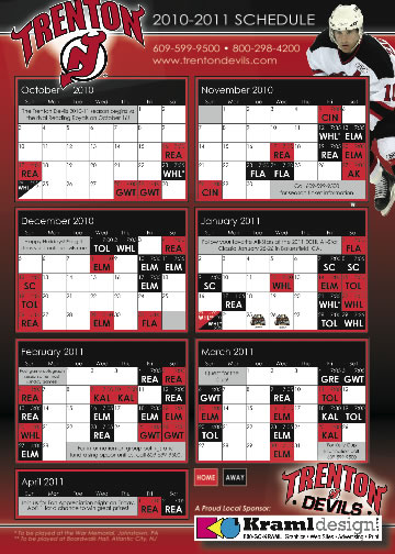 Trenton Devils Team Schedule by Kraml Design